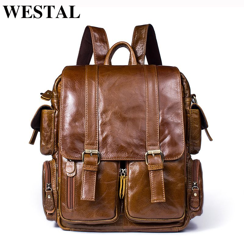 WESTAL Leather Backpack male Men's Travel Bags Daypacks Black Computer Backpacks For men back pack Teenager Laptop Backpacks