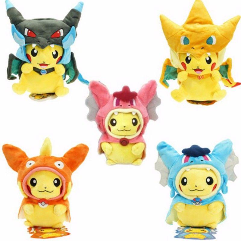 7 sortes Option Bébé jouets En Peluche Pikachu Cosplay Drôle Dracaufeu gyrados Animal En Peluche Poupées Enfants Jouets enfants Comme Cadeau