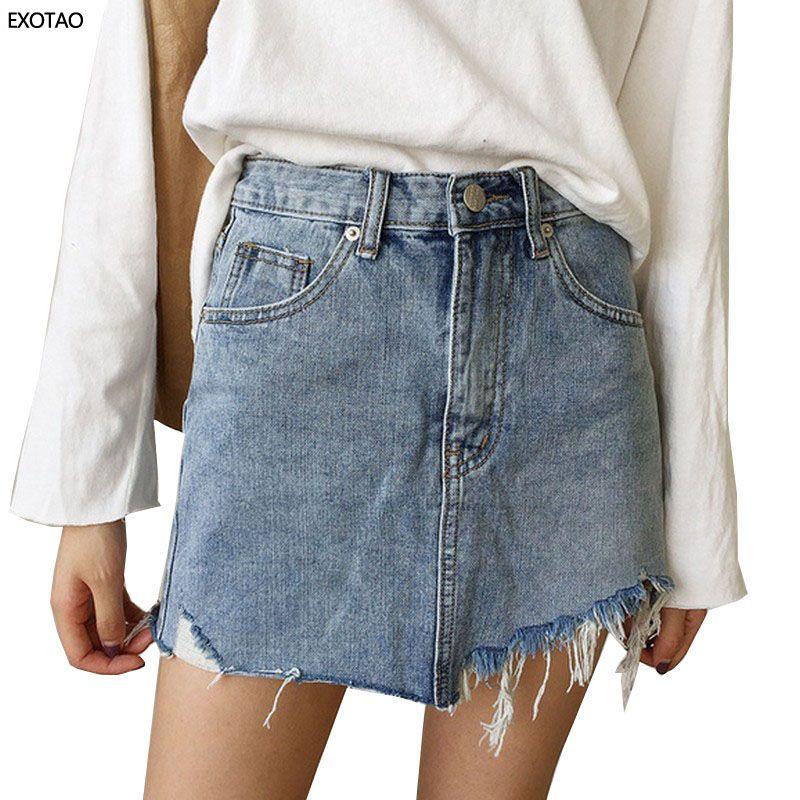 EXOTAO Jeans D'été Jupe Femmes Taille Haute Jupe Irrégulière Bords Denim Jupes Femelle Mini Saia Lavé Faldas décontracté Jupe Crayon