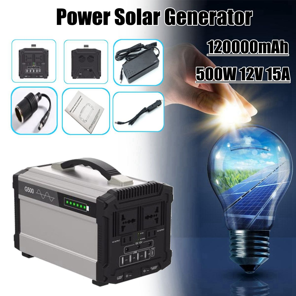 444Wh 120000mAh 500W 12V 15A Inverter Energy Power Storage Home Outdoor Portable Power Solar Generator Faster Charge