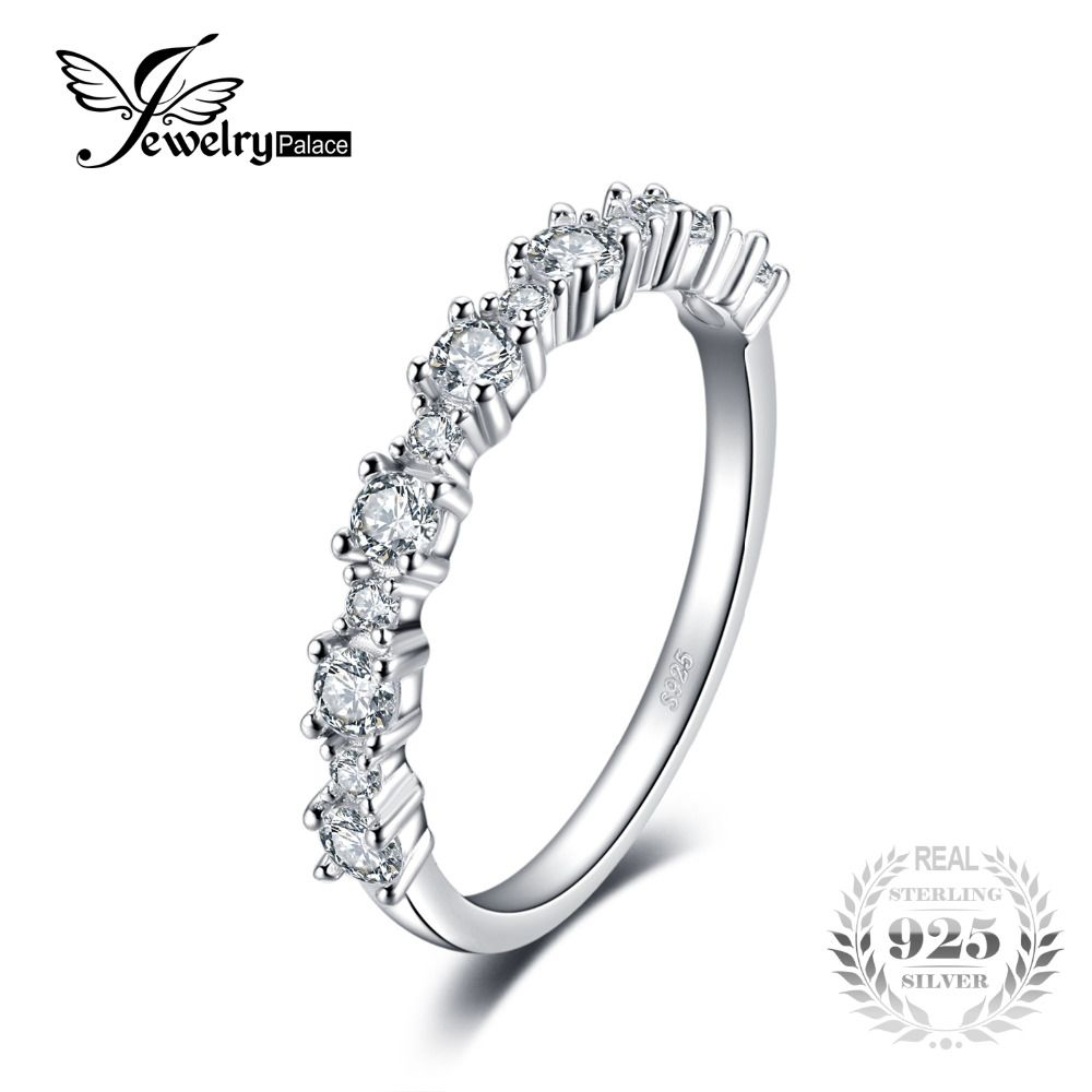 JewelryPalace 925 Sterling Silver Band Ring a Lot of AAA Fashion Design for engagement Fine Jewelry for Women Jewelry On Sale