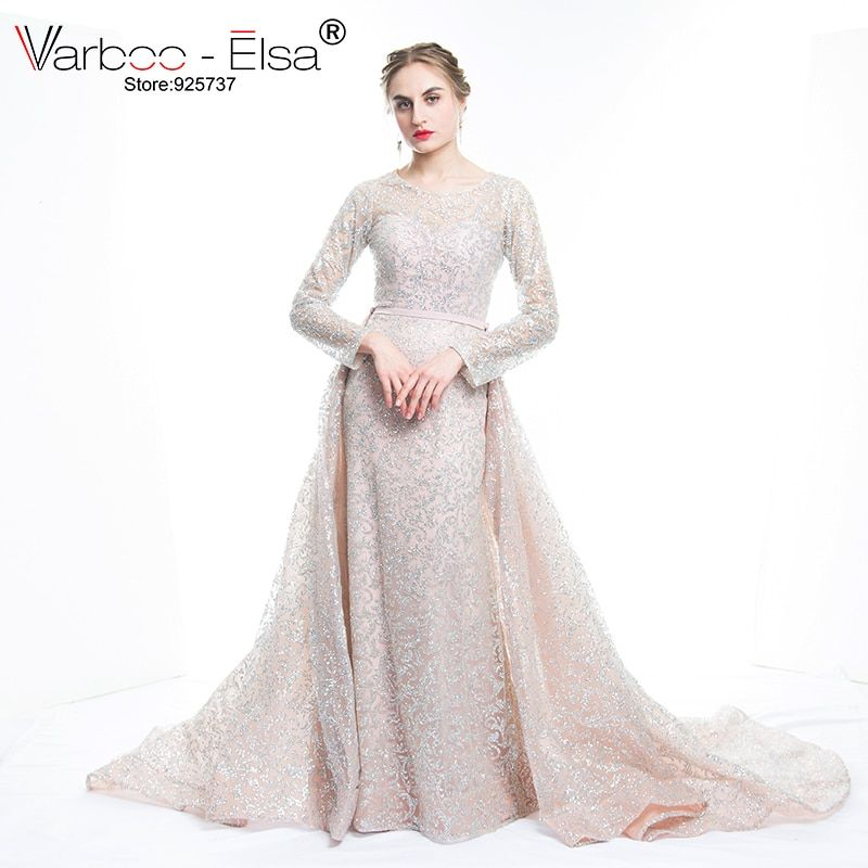 VARBOO_ELSA 2018 New Arrive Glitter Sequins Evening Dress Long Detachable Train Party Gown Long Sleeve Muslim Prom Dress Arabic