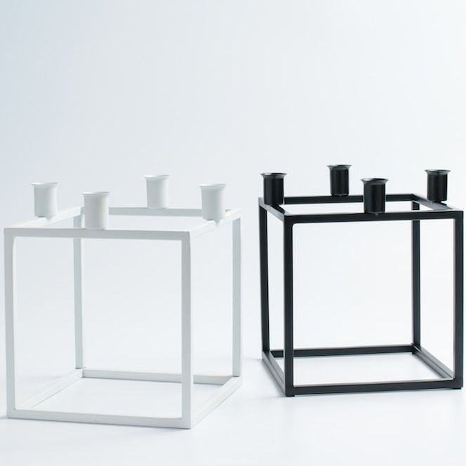 Square Black and White Cuboid Tabletop Candle Stand Iron Candle Holder Matching Stick Candle Home Wedding Decoration Accessory