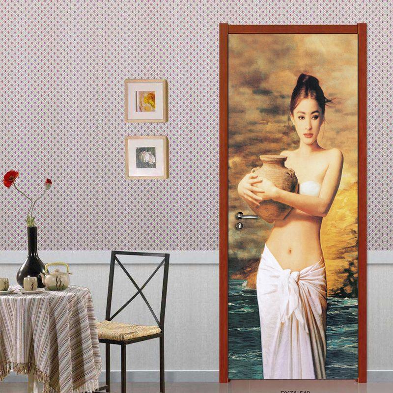 Europäischen Hand-gemalt Figur Schönheit Kunst Ölgemälde Wandbild Selbst-adhesive Wohnzimmer Schlafzimmer Tür Aufkleber Wand papier Foto