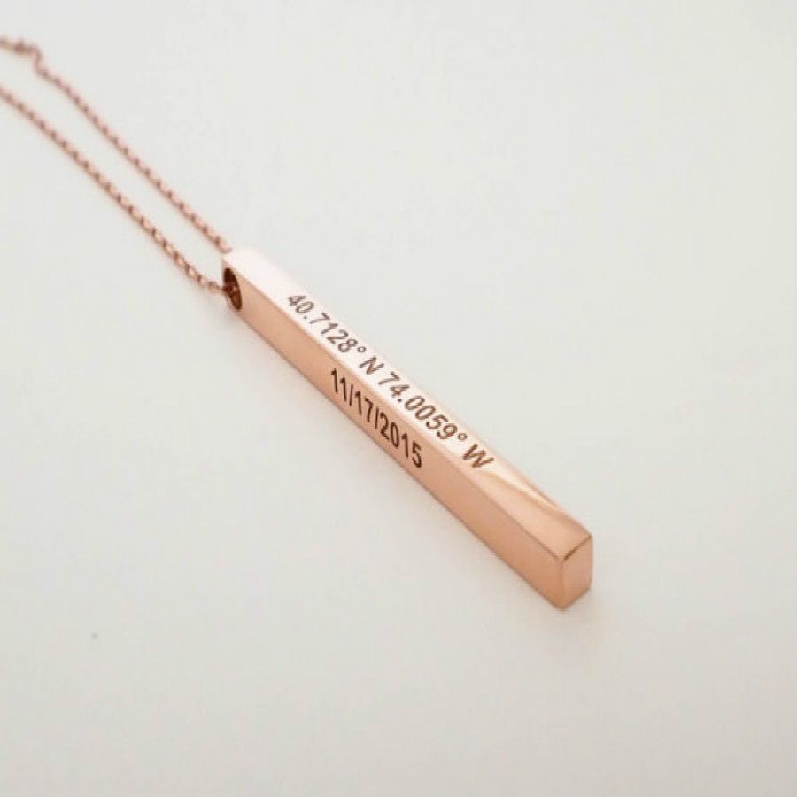 Custom Coordinates Necklace Personalized Bar Necklace Vertical Bar Layered Necklace Bridesmaids Gifts Wedding Jewelry Mom Gift