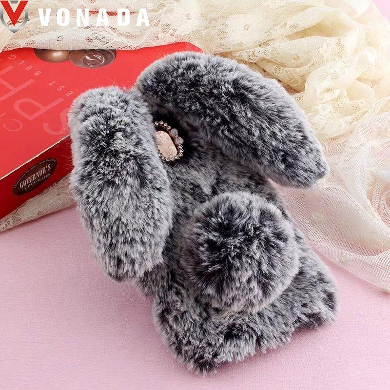 Vonada Plush Case for Acer Liquid Z6 Plus Z525 Z528 Z628 Z330 Z630 Z530 Cute 3D Rabbit Ears Fur Cover TPU Jewelled Case Cover