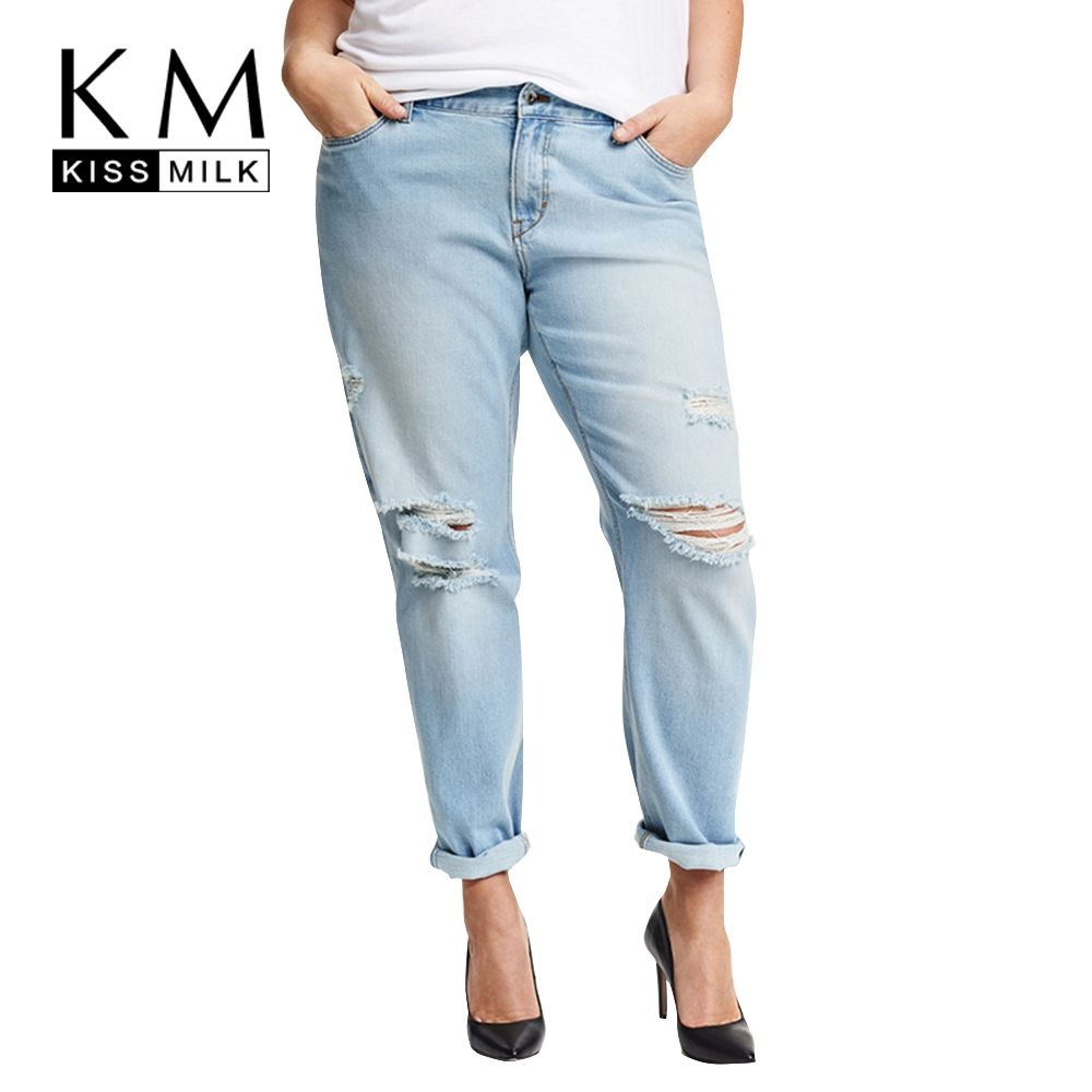 Kissmilk Plus Size New Fashion Women Clothing Casual Solid Broken Jeans Female Button Long Distressed Jeans 3XL 4XL 5XL 6XL