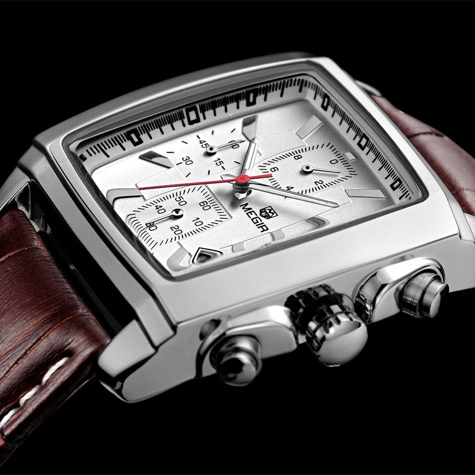 Relogio Masculino Mens Watches Top Brand Luxury <font><b>MEGIR</b></font> Men Military Sport Luminous Wristwatch Chronograph Leather Quartz Watch