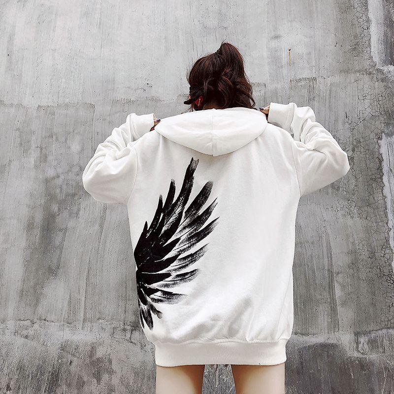 Winter2018 phoenix wings and hoodie women's loose hip-hop hoodies