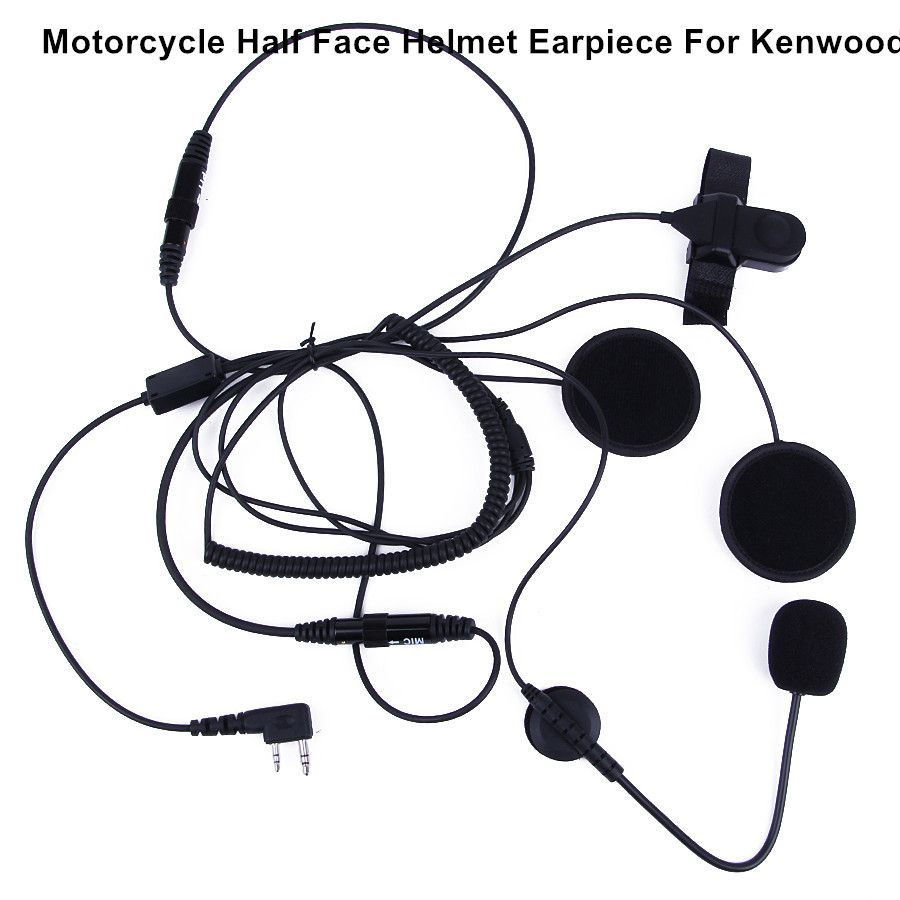 K plug 2 pin walkie talkie half helmet headset earpiece waterproof PTT suitable for any helmet motorcycle racing headset