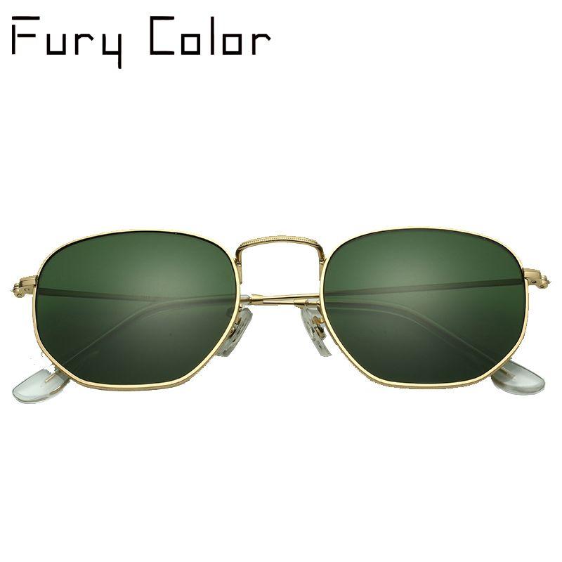 Glass lens <font><b>Retro</b></font> metal hexagonal round sunglasses men women luxury brand sun glasses Vintage Eyeglasses Oculos De Sol UV400