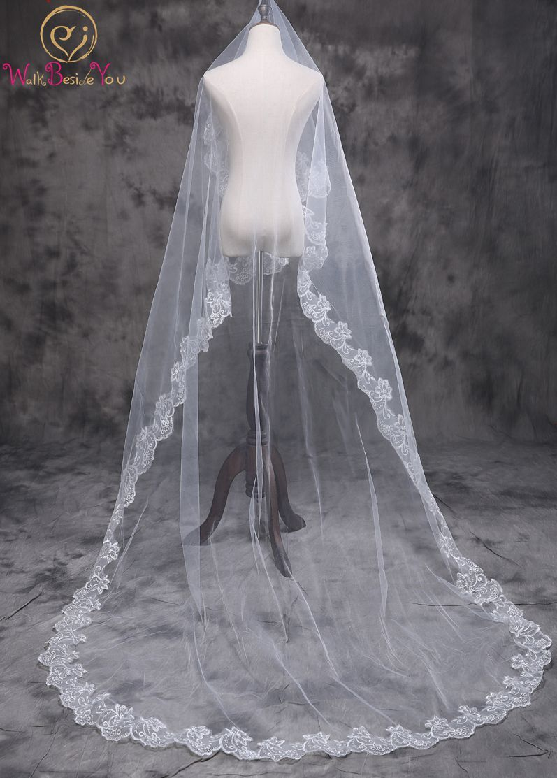 Walk Beside You Wedding Veils 2.5 m Lace Applique One Layer Accessoire Mariage Long Cathedral Bride Veils