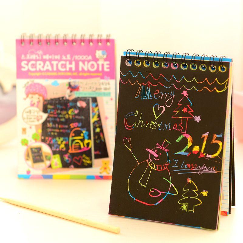 Scratch note Schwarz karton Kreative DIY ziehen skizze stellt für kinder spielzeug notebook zakka material Escolar Schulbedarf A6626
