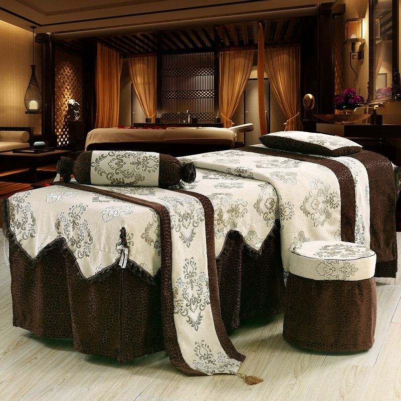 One Set Customized Chenille Beauty Salon Bedspread Embroidery 70*190cm Bed Skirt Duvet Cover for Beauty Parlor 4/5/6/7pcs Brown