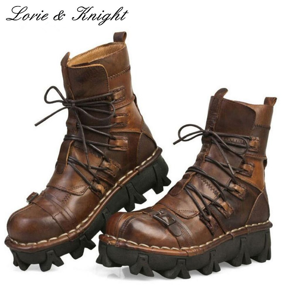 Men's Lace-up Cowhide Genuine Leather Work Boots Military Uniform Boots Motorcycle Martin Boots Combat Boots