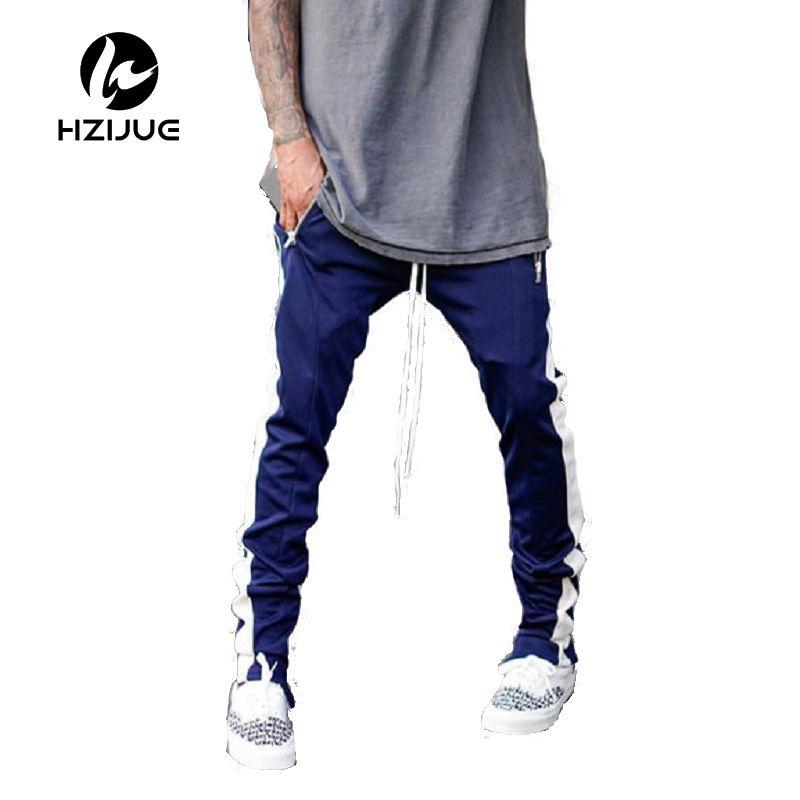 2017 Alargado Sección Pantalón Hombres Occident Retro Hip Hop Pantalones Cremallera Lateral Golpe Color Unisex Pantalones Casuales