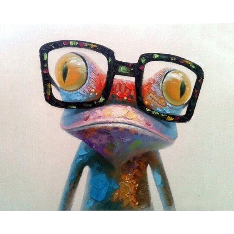 Peinture par numéros bricolage livraison directe 40x50 50x65cm lunettes colorées grenouille Animal toile mariage décoration Art image cadeau