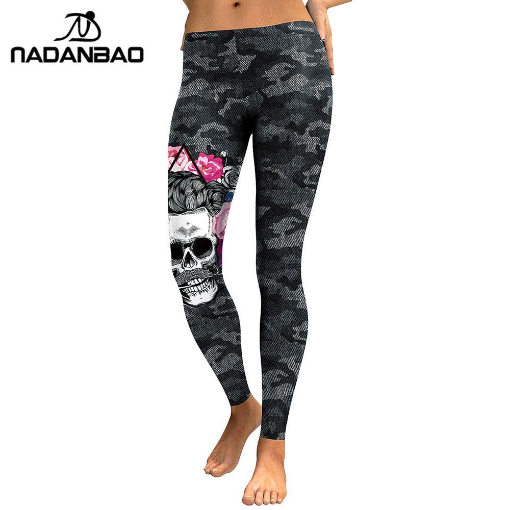 NADANBAO nouveauté Leggings femmes tête de crâne 3D imprimé Camouflage Legging d'entraînement Leggins Slim élastique grande taille pantalons Legins
