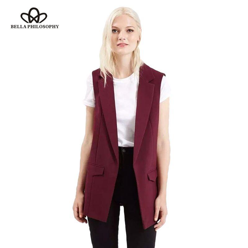 Bella Philosophy 2018 new fashion waistcoat women no <font><b>button</b></font> black jacket women sleeveless blazer jacket white casual outwear