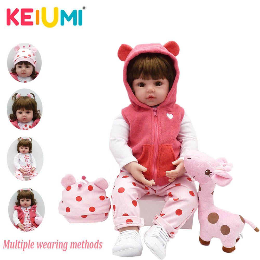 KEIUMI bébé Reborn réel nouveau-né Silicone souple Reborn bébé poupées cadeaux d'anniversaire mode poupée en peluche jouets avec girafe Playmate
