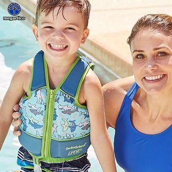 Megartico life vest children 2 3 4 5 6 years old kids swim trainer vest shark blue swimming vest boy life jacket foam float pad