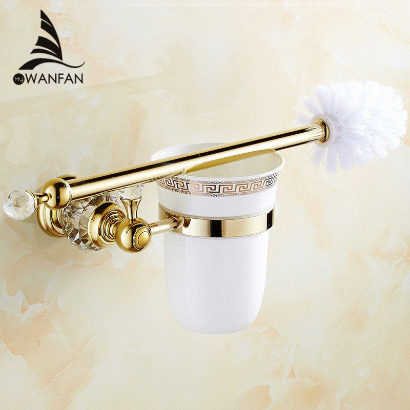 European style Brass Crystal Toilet Brush Holder,Gold Plated Toilet brush Bathroom Products Bathroom Accessories useful HK-44