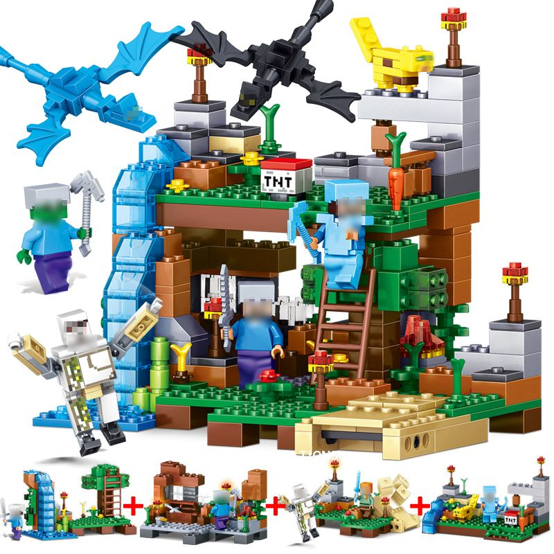 378pcs 4 in 1 Minecrafted Building Blocks Compatible Legoed <font><b>city</b></font> Figures Dragon Bricks Set Educational Toys for Children Gift