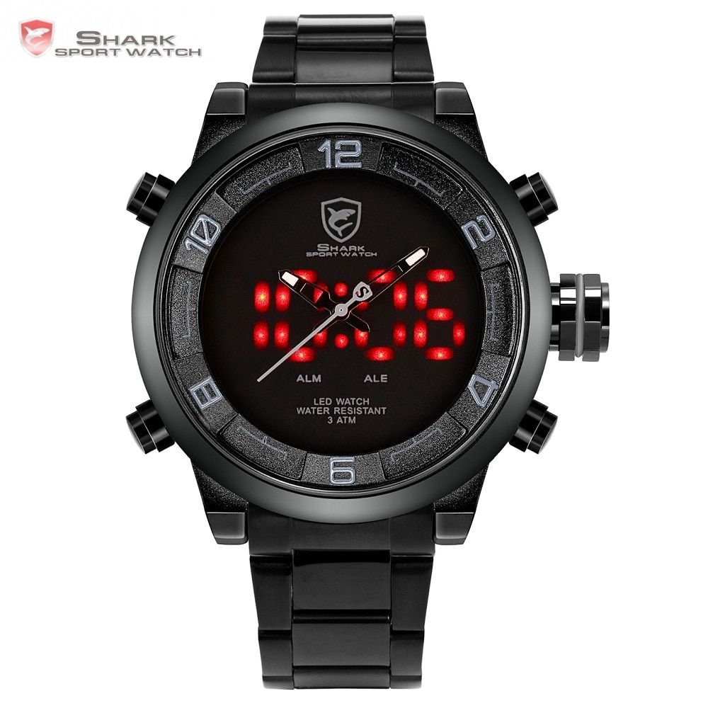 Gulper Shark Sport Watch Large Dial Black Outdoor Men LED Digital Wristwatches Waterproof Alarm Calendar Fashion Watches /SH364