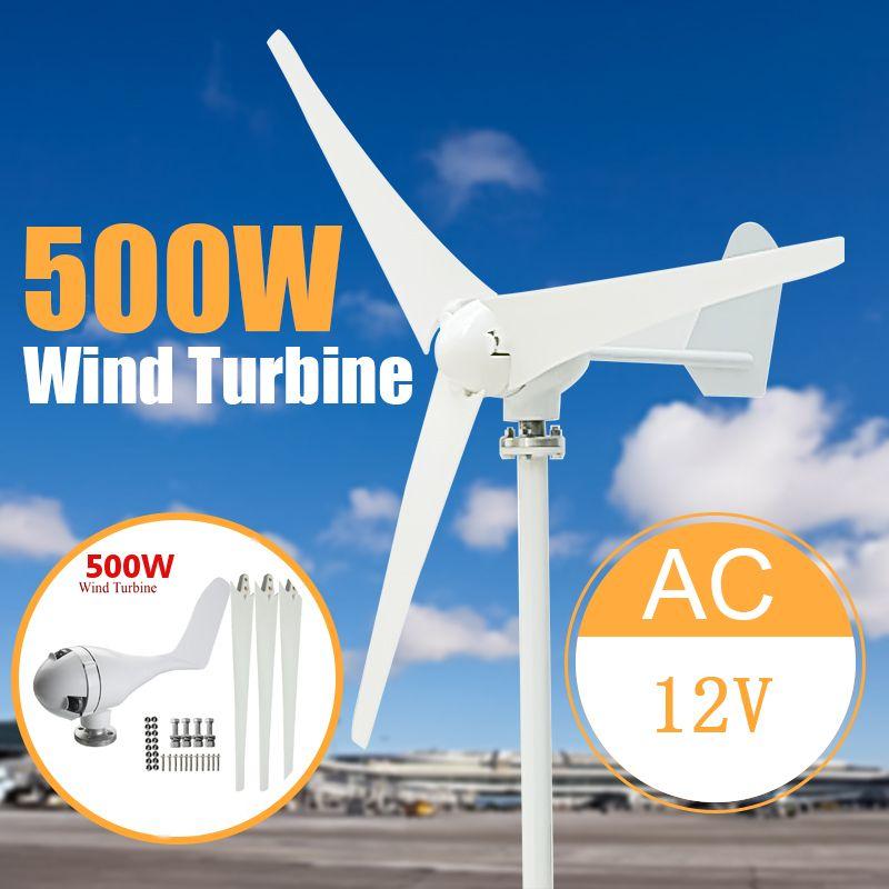 500W Max 600W Power 3 Blades Wind Turbine Generator Kit AC 12/24V Waterproof White
