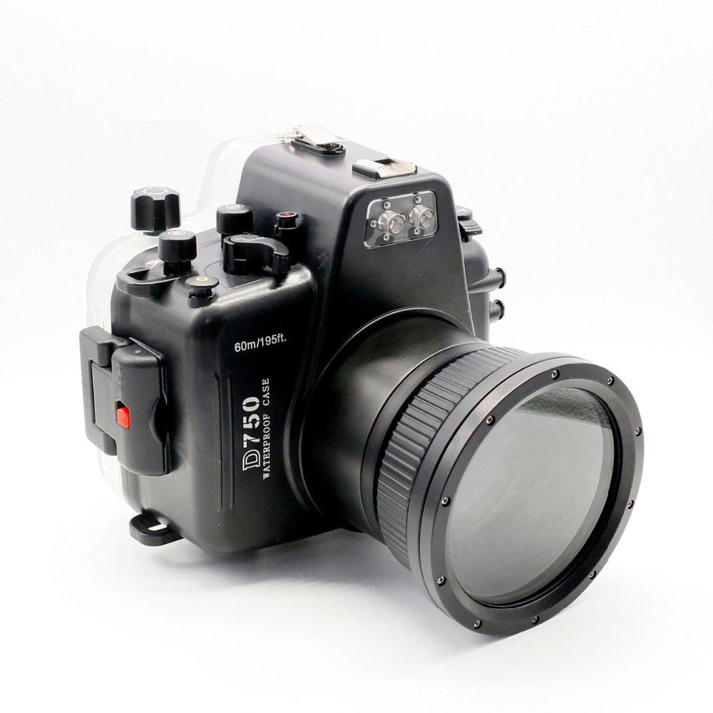 Für Nikon D750 Meikon 60 mt/195ft Wasserdichte Unterwasser Gehäuse Tauchen Kamera Fall