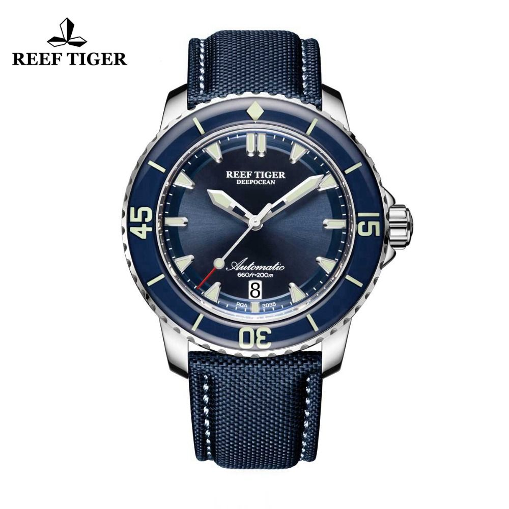 Reef Tiger/RT Super Luminous Dive Watches Mens Blue Dial Analog Automatic Watches Nylon Strap RGA3035