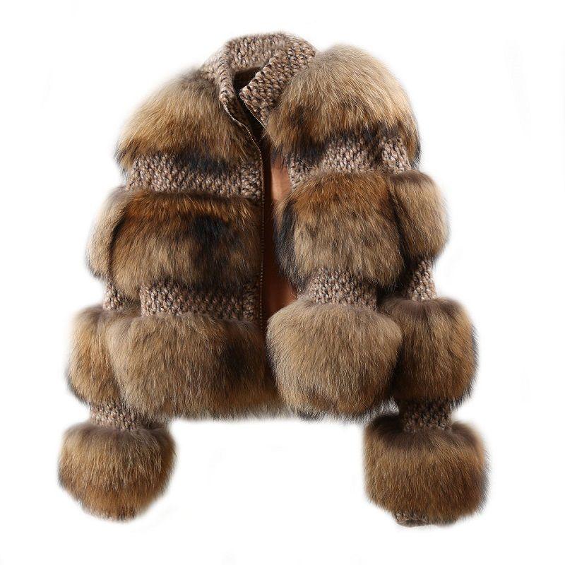 BFFUR Frauen Mäntel 2019 Winter Dicke Warme Echtpelz Mantel Oberbekleidung Schneeanzug Ganze Haut Waschbär Pelz Park Mit Natürliche pelz
