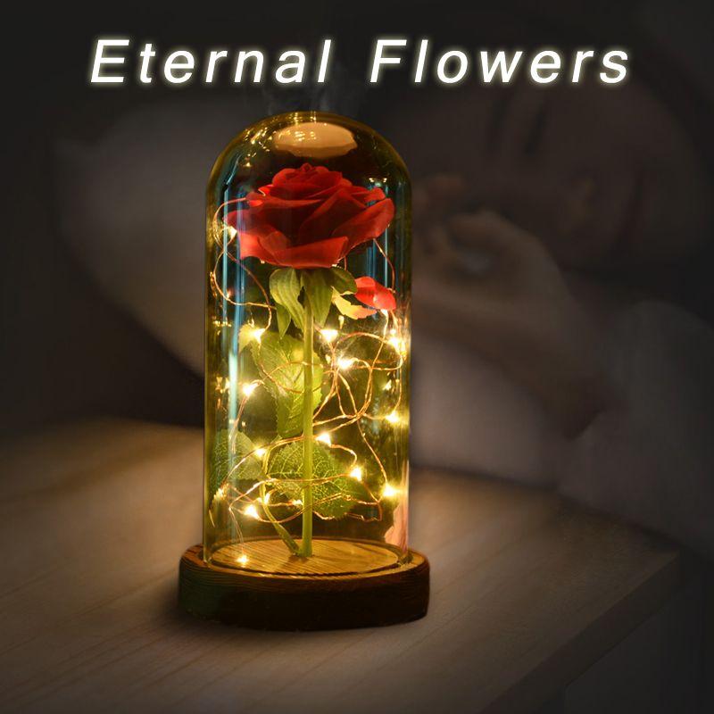 WR 5 дней в ваших руках Красота и чудовище красная роза с свет в Стекло куполом на деревянный база для дня рождения и Святого Валентина