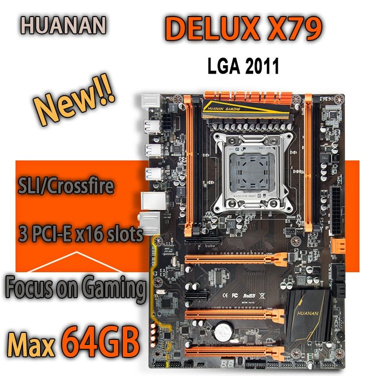 HUANAN golden Deluxe X79 gaming motherboard intel LGA 2011 ATX support 4 x 16GB 64GB memory PCI-E x16 7.1 sound <font><b>track</b></font> crossfire