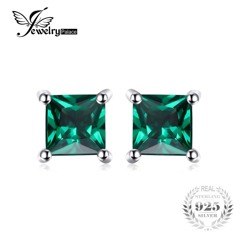 Jewelrypalace Square 0.6ct Created Emerald 925 Sterling Silver Stud Earrings Fashion Jewelry for Women