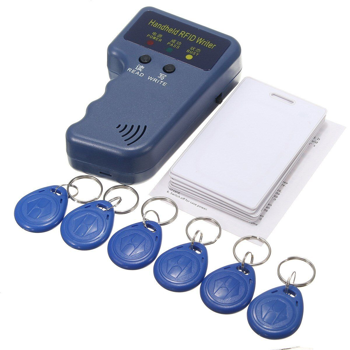NEW 13Pcs 125Khz Handheld RFID ID Card Copier/ Reader/Writer Duplicator Programmer6 Pcs Writable Tags+6 Pcs Cards
