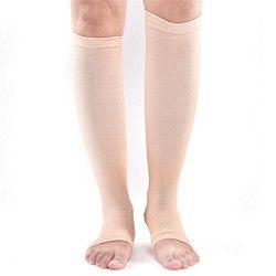 1Pair 42cm Nylon Elastic Toeless Compression Socks Stockings Support Knee High Tip Open