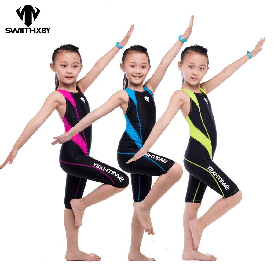 HXBY Professional Competition Swimsuit For Girls One Piece Swimwear Women Knee Women's Swimsuits Swimming Suit For Girl Child