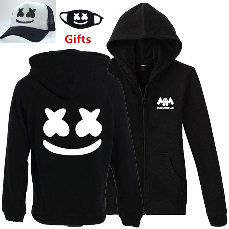 Cap%Mask as Gifts S to 3XL plus size DJ Marshmello men women hoodies hip hop Rapper Bboy Popper dancer zipper jacket tracksuits