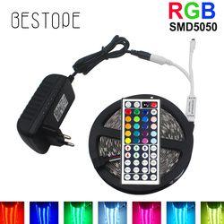 10 M RGB LED Bande 5 M 5050 SMD LED Bande De Lumière Flexible ruban Étanche IR À Distance Contrôleur DC 12 V Puissance Adaptateur ensemble Complet