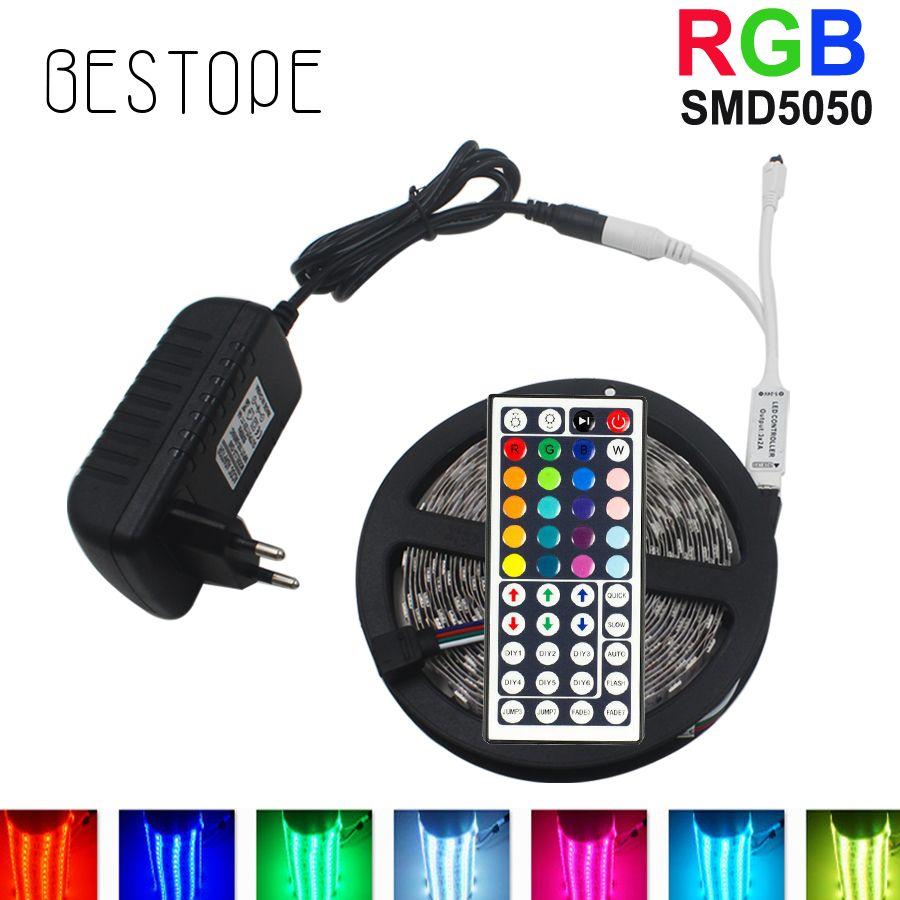10M RGB LED bande 5M 5050 lumière LED smd ruban Flexible étanche IR télécommande DC 12V adaptateur secteur ensemble complet
