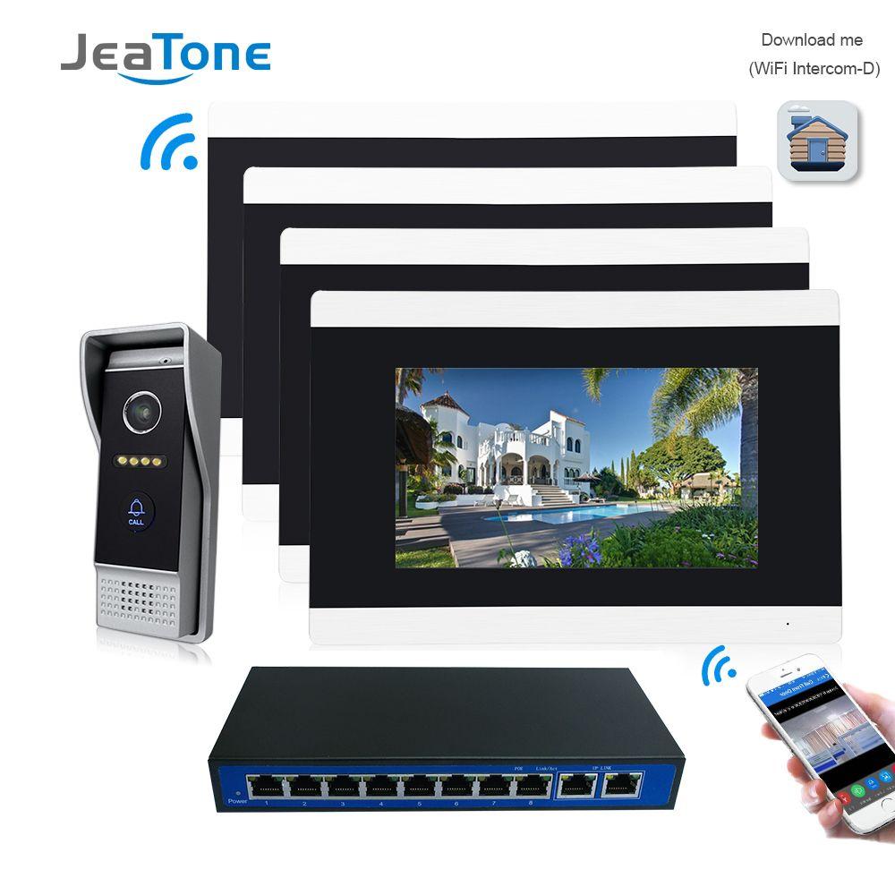 7 ''Touchscreen Drahtlose WIFI IP Video Tür Sprechanlage Video Türklingel Villa Access Control System Motion-Detection-1 zu 4