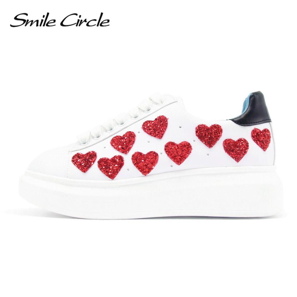 2018 Spring/Autumn Women Platform Shoes Sneakers Fashion heart Casual Shoes Women Lace-Up Flat Platform Shoes Thick bottom