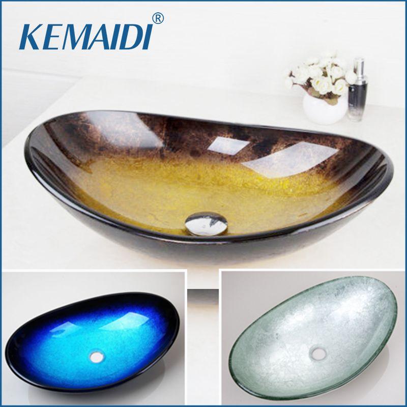 KEMAIDI jaune verre trempé peint à la main cascade bec bassin noir salle de bain évier lavabo avec survolé Pop Drain