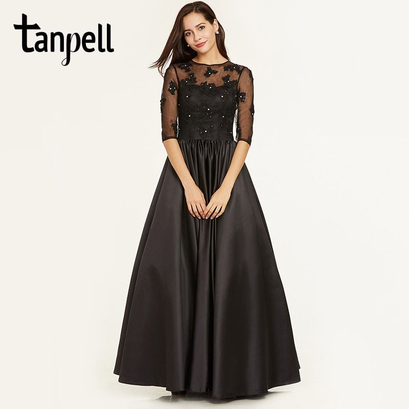 Tanpell scoop neck evening dress black appliques half sleeves floor length ball gown cheap lady prom beaded long evening dresses
