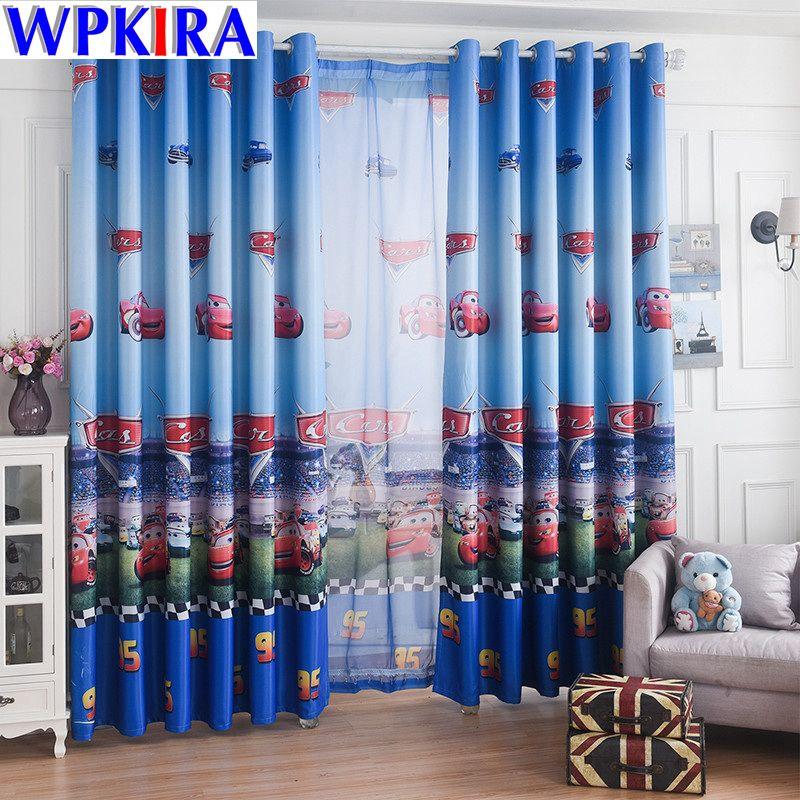 Bleu voiture dessin animé fenêtre rideau salon garçons enfants chambre pure Tulle enfants Cortina fenêtre traitement 70% ombre WP228-30