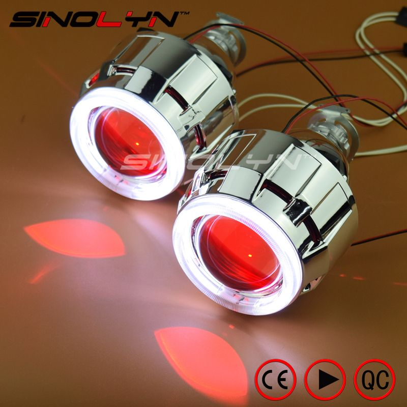 SINOLYN Car/Motorcycle Light 2.5'' HID Bixenon Projector Lens Headlight Angel Devil Demon Eyes Halo LED Xenon Headlamps H1 H4 H7