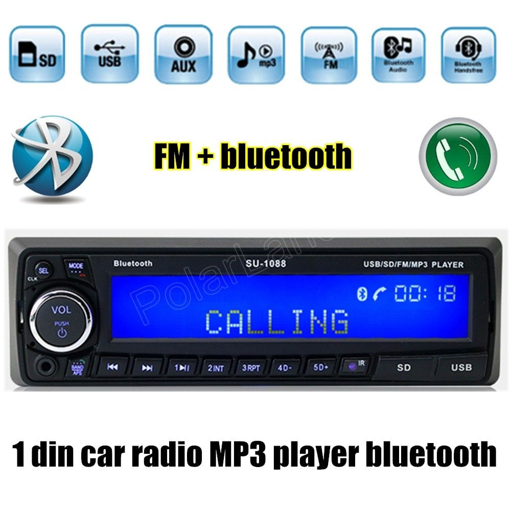 12V Bluetooth USB/SD/AUX MP3 player Radio Car Electronic vehicle Stereo Audios Single Din FM handsfree music auto
