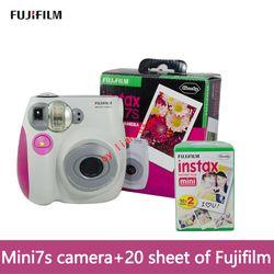 original Fujifilm Instax Mini 7s +film 20 Instant Film Photo Camera Blue and Pink appareil photo instax mini 7S Free Shipping