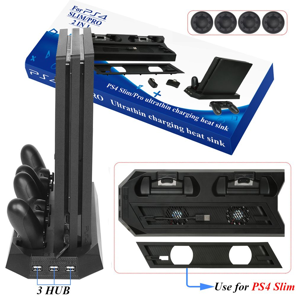 PS4 Slim / PRO 2 in 1 Vertical Stand with Dual Joypad Charging Station & 3 HUB Port 4 Caps for Sony PlayStation 4 PS4